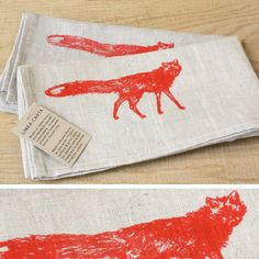 """We think this 100% naturally sustainable linen, not to mention the original fox design screen printed in red with water-based inks, is the perfect match for your table in wide open spaces. Sold individually, easy to wash and dry, 18"""" x 18"""""""