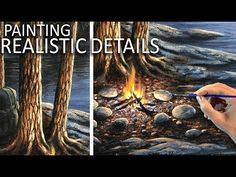 PAINTING REALISTIC DETAILS | Tree bark & rocks - YouTube