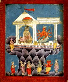 Śiva and Durgā in a palace on mount Kailasa with attendant deities. Rajasthan School, c.1790-1810.