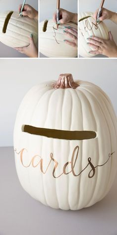 Wedding Card Box Is a MUST For Your Fall Wedding! Learn how to turn a foam pumpkin into the most perfect fall wedding card box!Learn how to turn a foam pumpkin into the most perfect fall wedding card box! Wedding Tips, Wedding Cards, Wedding Favors, Wedding Card Boxes, Wedding Quotes, Wedding Invitations, Invitations Online, Party Favors, Budget Wedding