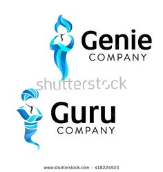 Jinn Graphic Symbol. Vector illustration of two genies.  Represents  Miracle, Magic, Spirit, Fulfillment of Desires and Dreams, Ingenuity, Skill, Competence etc.