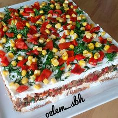 Image may contain: 1 person, food Appetizer Salads, Appetizers, Pasta Salad, Cobb Salad, Turkish Recipes, Ethnic Recipes, Turkish Delight, Food Humor, Food Design