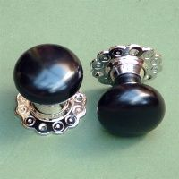 Solid Ebony & Nickel Bun Rim or Mortise Door Knobs | The Door Knocker Company