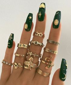 Edgy Nails, Stylish Nails, Swag Nails, Grunge Nails, Nail Jewelry, Cute Jewelry, Danty Jewelry, Jewlery, Jewellery Bracelets