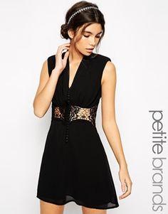 Jarlo Petite V Neck Lace Insert Mini Dress