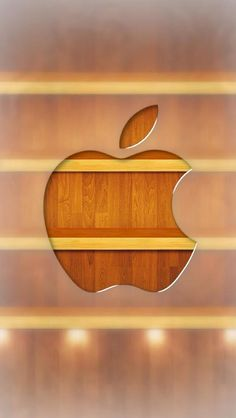 Apple logo in front of shelves