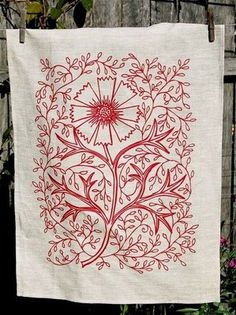 screen-printed linen tea towel