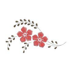 Matriz de Bordado Grátis - Galhos Flores | Bordados de Coração