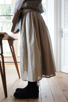 L'Ecume des Jours novembre 1  cotton linen double layer skirt