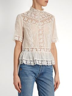 Rebecca Taylor High-neck lace-trimmed cotton-voile top