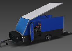 An enclosed motorbike trailer with a load area of 4000x2000x1500 (about 13x6.5x5ft) & a maximum ATM of 2600kg, for moving anything from motorbikes, quads etc