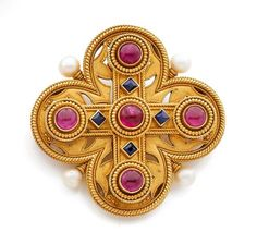 A RUBY, SAPPHIRE, NATURAL PEARL AND YELLOW GOLD BROOCH-PENDANT BY PIERRET. CIRCA 1870