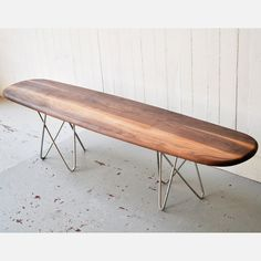 walnut and steel bench