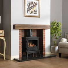 New Free gas Fireplace Remodel Concepts Firefox 8 Log Effect Gas Stove – Gas Stoves – Stoves – Stoves Are Us Gas Stove Fireplace, Wood Burner Fireplace, Cottage Fireplace, Home Fireplace, Fireplace Remodel, Living Room With Fireplace, New Living Room, Fireplace Design, Living Room Decor