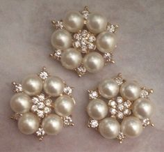 Pearl button pearl brooch rhinestone and pearl by BlingBasement