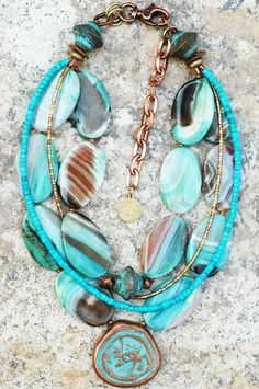Capri: Blue Agate, Turquoise and Copper Pendant Necklace