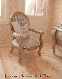 Marie Antoinette French Essence armchair - 1/12 dolls house dollhouse miniature on Etsy, $50.00