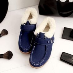 Fur Lining Hook Loop Warm Flat Metal Casual Driving Shoes - Gchoic.com