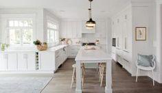 Perimeter: Manor Flat, Painted MDF, Custom White Paint.  Island: Manor Flat, Painted MDF, Custom Grey Paint