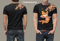 """Black cotton T-shirt from Com-Prensa featuring a round neck, short sleeves, a print to the front """"KOI """".  #manufacturer #barcelos #sweat #colours #tshirt #cotton #comprensa #fashion #model #fashion #design #company #textile #portugal #sublimation #screenprinting #digitalprint #laser #photoprint"""