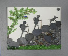 This is a slightly different version of a previous hiker piece. Here, a bluebird represents the happiness these three feel when spending time together in nature. The pup is full of joy at the prospect of climbing up a mountain with his two favorite people Pebble Stone, Pebble Art, Stone Art, Pebble Pictures, Stone Pictures, Stone Crafts, Rock Crafts, Art Pierre, Art Projects