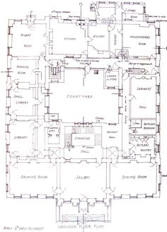 Redgrave Hall, Suffolk, first floor plan. Note the lack of bathrooms! The Plan, How To Plan, Courtyard House Plans, House Floor Plans, Castle Floor Plan, Home Design Plans, Plan Design, Mansion Plans, Architectural Floor Plans