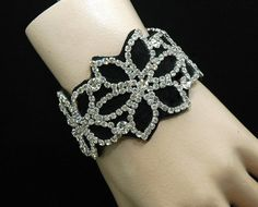 Rhinestone Bridal Bracelet Black Bracelet by AyansiWeddingDesigns, $35.00