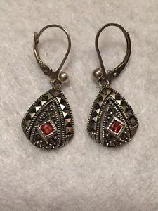 Judith Jack Marcasite Garnet Earrings   eBay