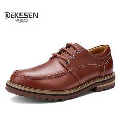 66.33$  Watch now - http://alisqt.shopchina.info/go.php?t=32746340477 - DEKESEN Brand Plus size 45 46 50  Men Dress Shoes,Hot Sale 100% Genuine Leather Shoes Men, Business Men Shoes,Fashion Men Oxford  #magazineonlinebeautiful