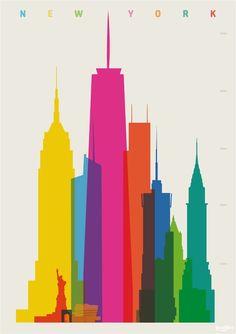 Beautiful block print city posters