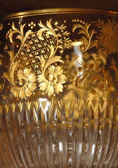 French Engraved 24K Gold Stemware ~ Detail
