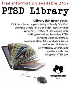 Every article available in our PTSD Library in one, easy-to-use place. Please pass along... and take the time to get yourself educated (if you haven't already!). PTSD is the most common injury faced by combat heroes.