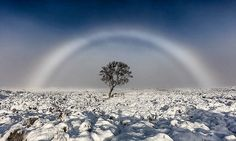 Stunning image of a rare FOG bow is captured over Scottish moors