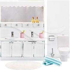 Lundby Smaland Dolls House Bathroom Furniture Sink Cabinet and Toilet Set for sale online Baby Furniture Sets, Doll Furniture, Dollhouse Furniture, Bathroom Furniture, Bathroom Cupboards, Easy Wood Projects, Dollhouse Accessories, Bathroom Sets, Decoration