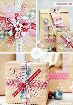 DIY gift wrapping with washi tape and kraft paper