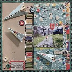 vacation scrapbook layouts | Travel scrapbook page ideas from October Afternoon from CHA 2011.