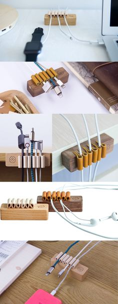 Wooden Wood Desk Cord Cable Clip Holder Cord Organizer Manager Management System Power Cords and Charging Accessory Cables Organizer