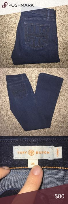 "Tory Burch Classic Tory Boot Cut Denim Worn a handful of times, great condition. Dark wash denim with black Tory Burch insignia on back pockets. Fitted on Top flare on bottom. Button closure, zip fly. Inseam 34"". Tory Burch Jeans Boot Cut"
