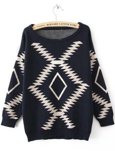 Navy Long Sleeve Geometric Print Pullovers Sweater
