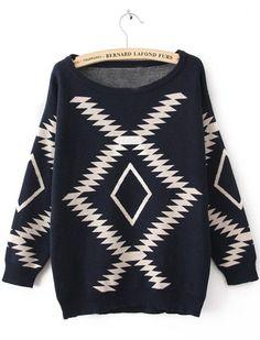 Navy Long Sleeve Geometric Print Sweater