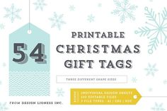 54 Printable Christmas Tags by Design Lioness on @creativemarket