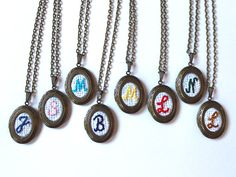 Embroidery Monogram Locket Necklaces Etsy