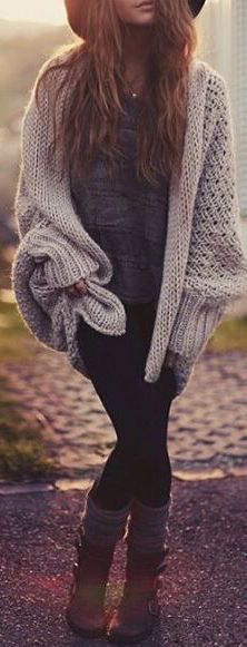 #fall #fashion / oversized knit + boots