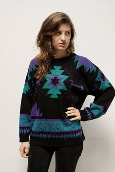 90s SOUTHWEST Ikat fair isle spring SWEATER by thesaltonsea, $45.00