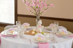 Cherry Blossom Love Wedding Reception Table, cherry blossoms, pink, white, green, fans, bamboo, Japanese themed Concept and Design by A Dream 2 Reality Events Photography by J.Gray photography