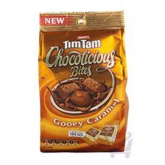 Tim Tam Chocolicious Bites Gooey Caramel – Arnott's Tim Tam, Arnotts Biscuits, Australian Meat Pie, Australia Day, Sausage Rolls, Cookies, Caramel, Snack Recipes, Chips