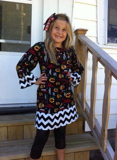 Chicago Blackhawks/Black Chevron Hockey Long Sleeve Peasant Dress for Babies/Toddlers/Girls Size- 0-6 Months up to girls 10/12
