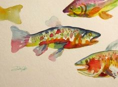 Trout Talk, painting by artist Delilah Smith