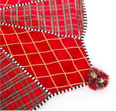 Beautiful Gala Tree Skirt.  Cotton velveteen and silk tartan