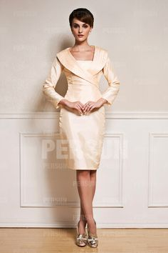 Short Simple Taffeta Mother of the Bride Dress with Long Sleeves - DressesMallAU.com